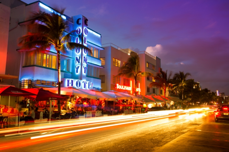Ocean Drive in Miami at night