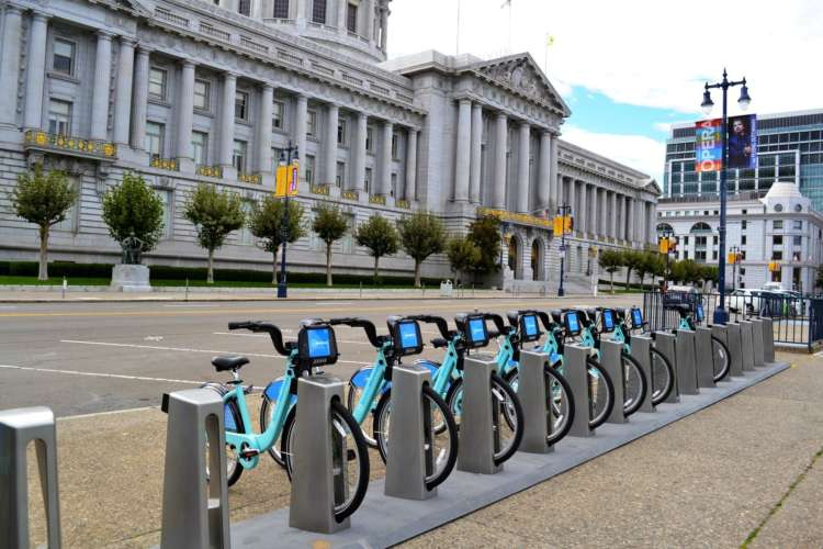 Credit: Bay Area Bike Share Berkeley envisions having Bike Share stations similar to this installation outside San Francisco City Hall.